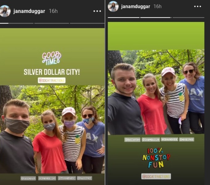 Jana and Laura at Silver Dollar City with James and Abbie Duggar.