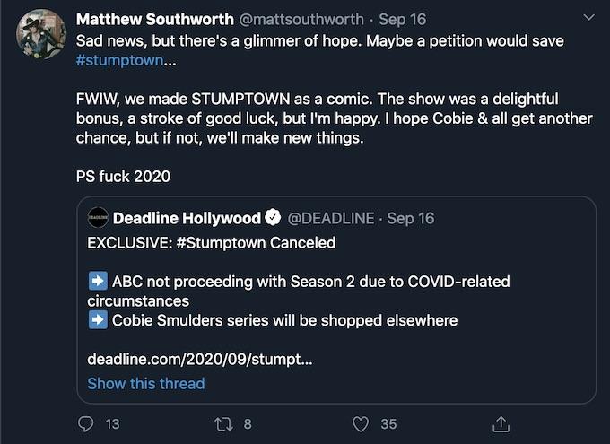 abc cancels stumptown ahead of season 2