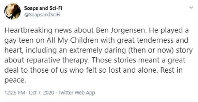 Ben Jorgensen death announcement on Twitter