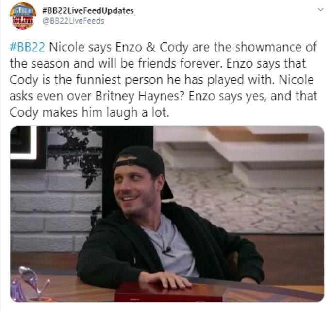 Cody On BB22 Feeds