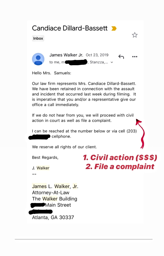 Monique Samuels shares email received by Candiace Dillard