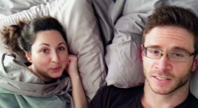 MAFS couple Brett and Olivia laying in bed doing diary cam together