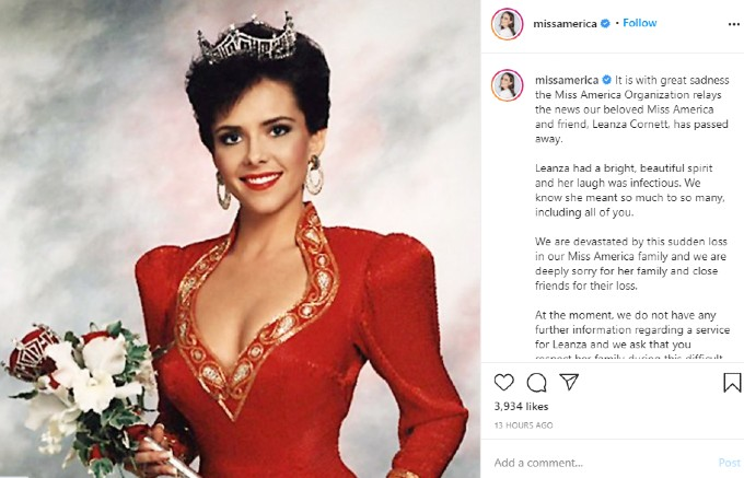 Miss America pays tribute on Instagram