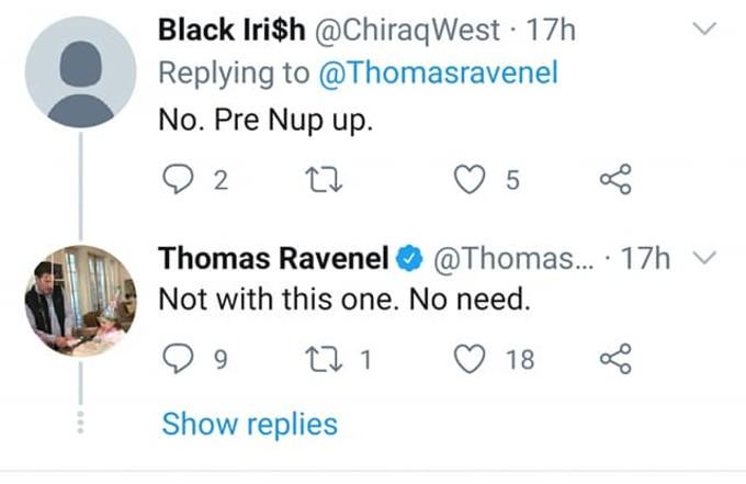 Thomas Ravenel says no prenup.
