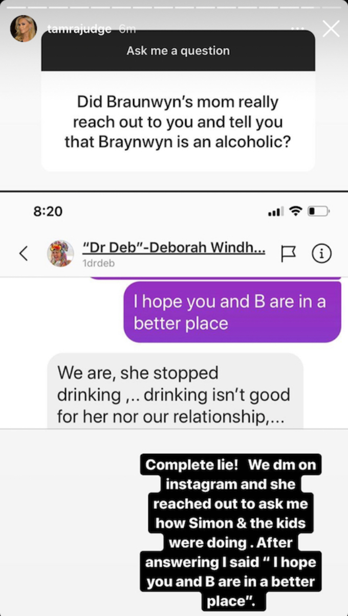 Tamra Judge shares Instagram conversation with Dr. Deb