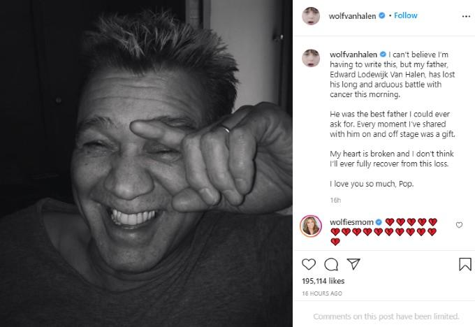 Wolf Van Halen's Instagram post