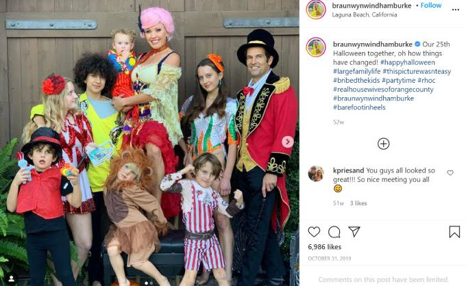 Braunwyn Windham-Burke and her family dress up as circus performers.