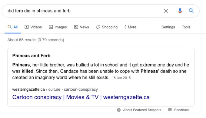 Google result for did Ferb in Phineas and Ferb die