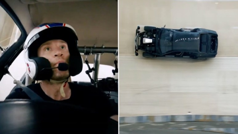 Freddie Flintoff driving a Maserati Quattroporte around the Wall of Death