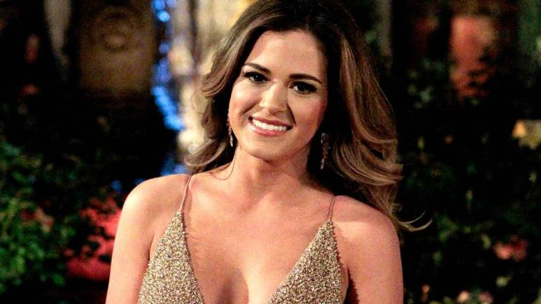 Jojo Fletcher poses in front of the Bachelor mansion.