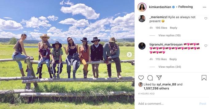 kim kardashian ig post of family members