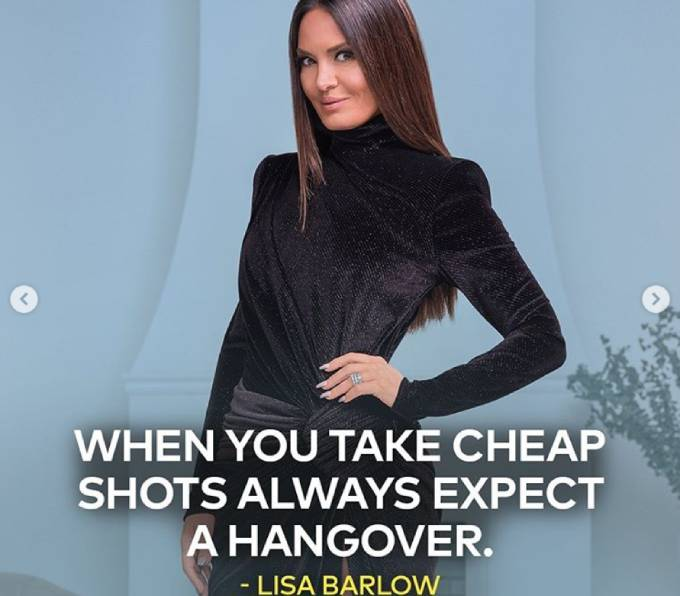 """Lisa's tagline reads, """"When you take cheap shots always expect a hangover."""""""