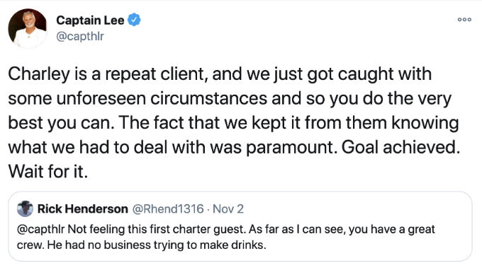 Captain Lee defends charter guest Charley.