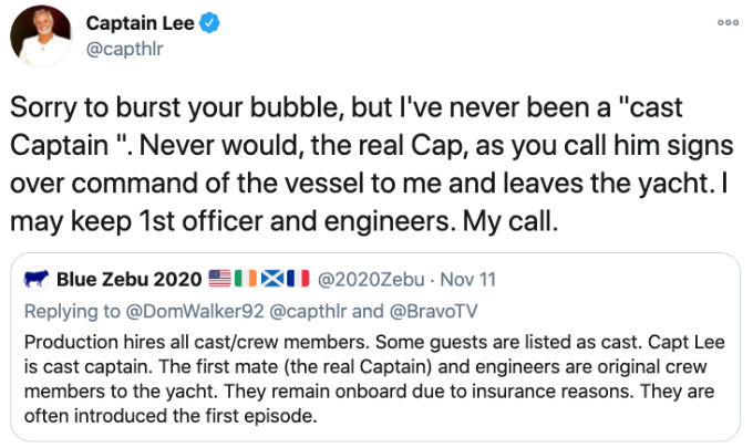Captain Lee Tweets at haters