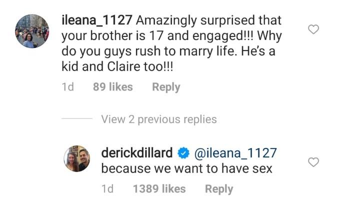 Derick Dillard's comment on Instagram