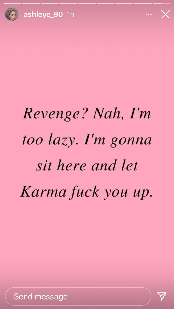 Ashley Martson shares IG post about Karma