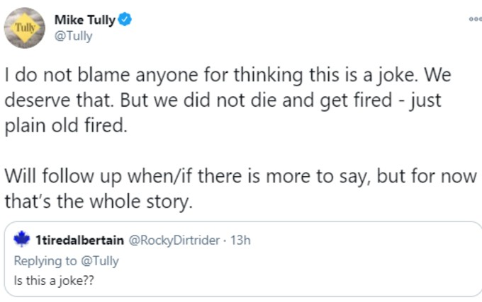 Mike Tully tweets confirmation of firing
