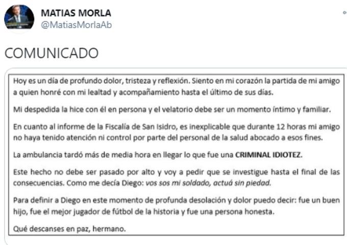 Tweet by Maradona's friend Matias Morla