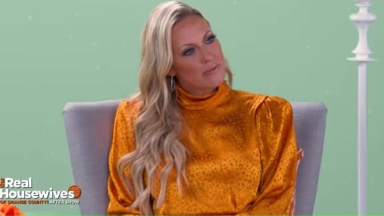 Braunwyn discussing her marriage during a RHOC aftershow episode