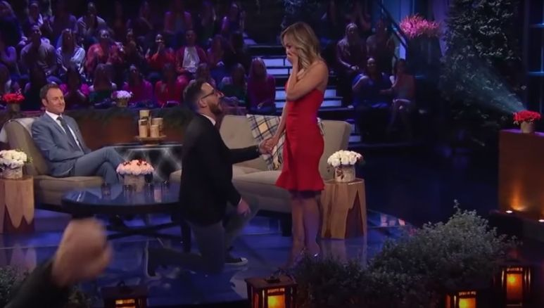 Benoit proposes to Clare Crawley during the live After the Final Rose taping