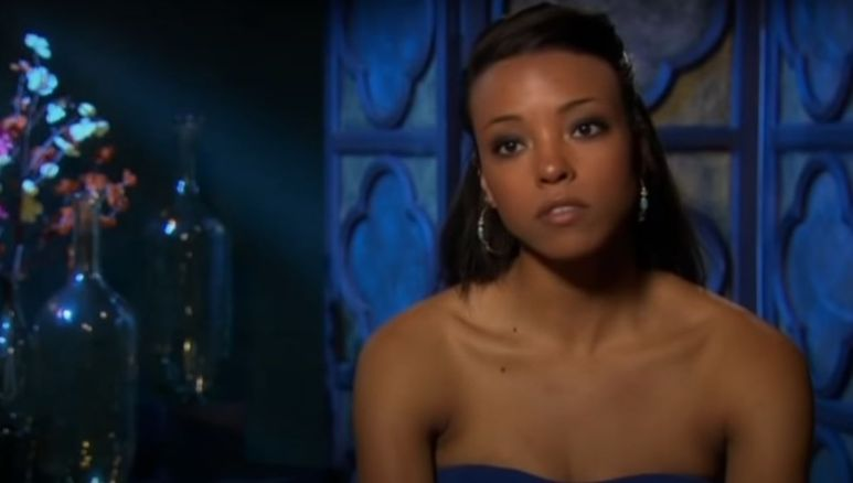 Robyn Howard in a blue dress during a confessional on The Bachelor