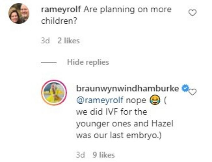 comment from Braunwyn Windham-Burke's Instagram Live.