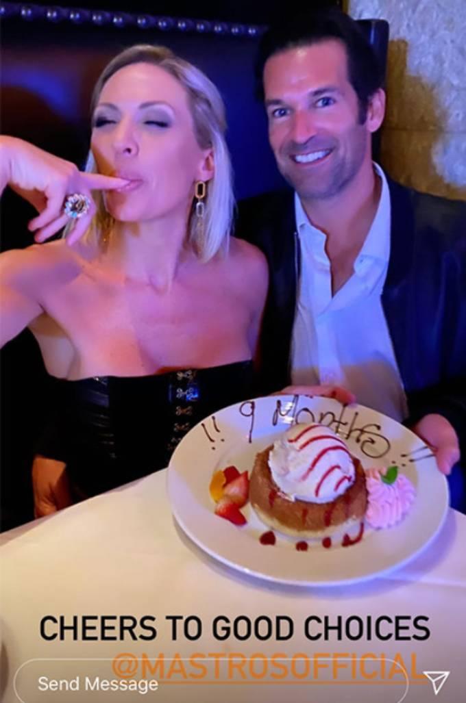 Braunwyn Windham-Burke and Sean Burke eat dessert at Mastro's.