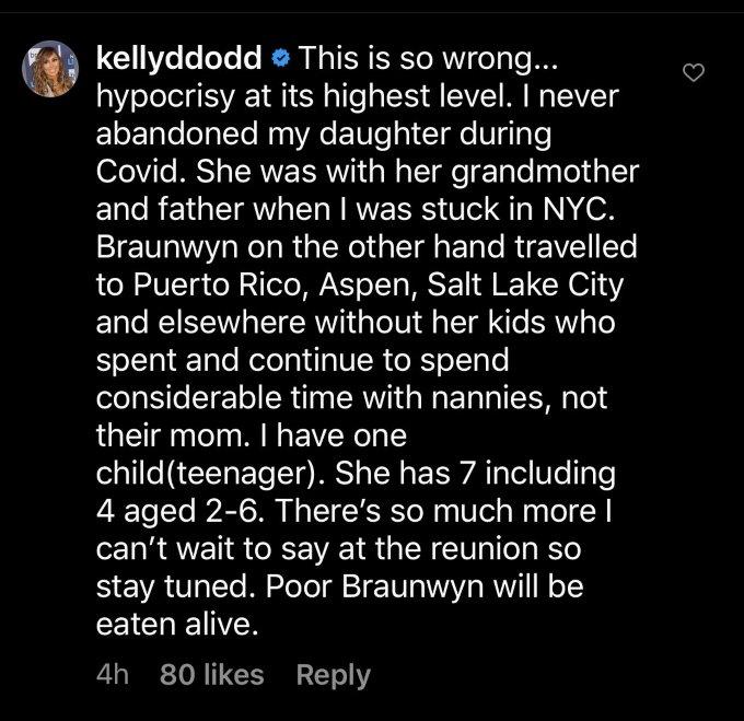 Kelly Dodd's social media post defending herself against Braunwyn Windham-Burke