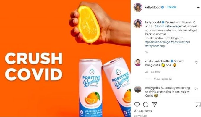 Intagram post claiming Positive Beverage can 'crush Covid'