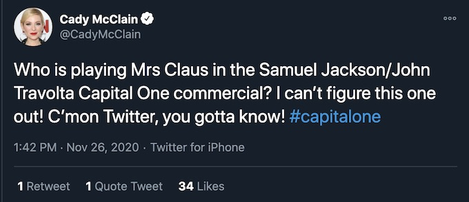 who is mrs claus capital one commercial tweet