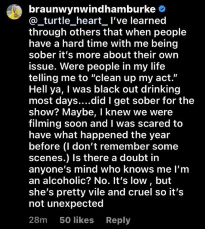 Braunwyn Windham Burke responds to fan who asked how she felt about Kelly Dodd calling her a liar about her alcoholism
