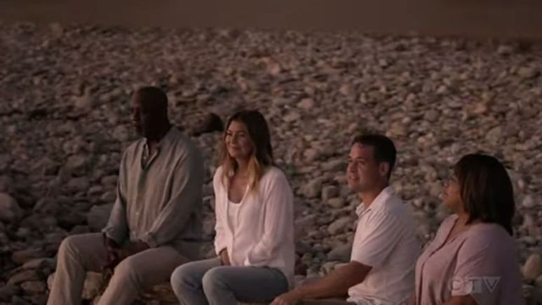 Mer sits with George, Bailey, and Richard