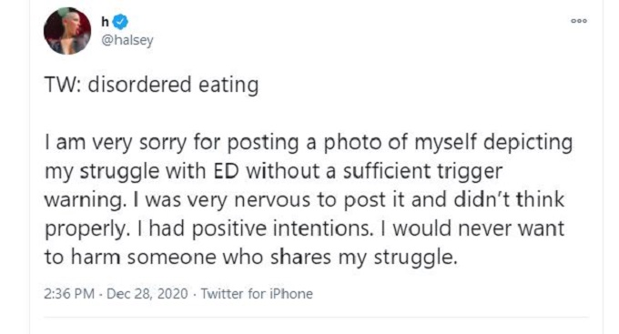 Screenshot of Halsey's apology for her eating disorder post on Instagram.
