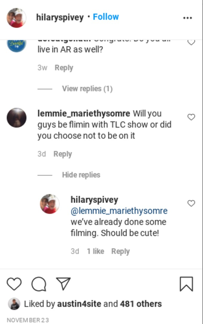 Hilary Spivey confirms Counting On filming.