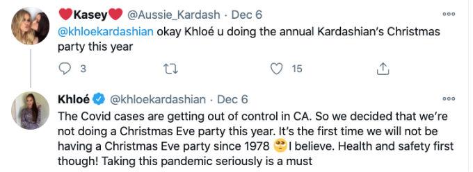 Khloe Kardashian no Christmas Eve party tweet