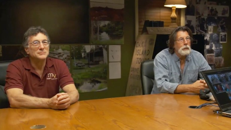 Rick and Marty Lagina in the War Room of Oak Island