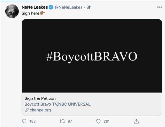 Nene wants viewers to boycott Bravo