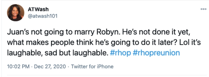 Twitter user doest think Juan will marry Robyn