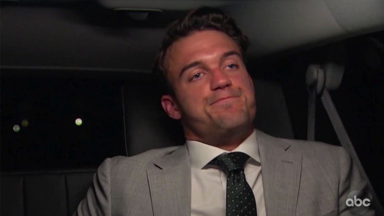 The Bachelorette's Ben looking defeated in the limo ride home