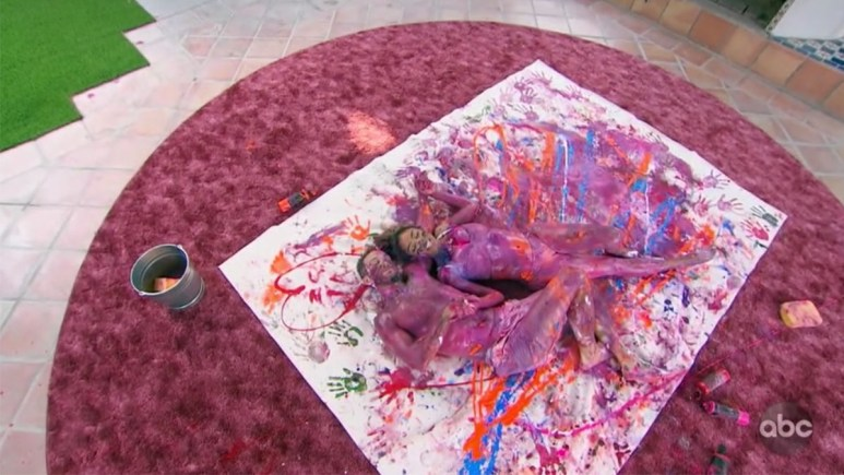 The Bachelorette Tayshia and Zac C. covered in paint