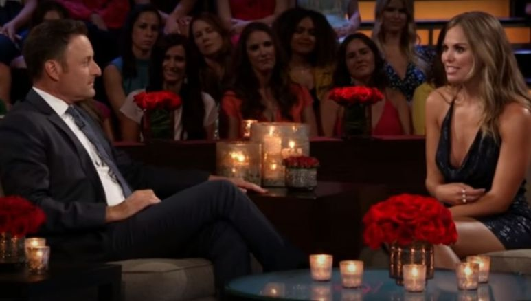 Hannah Brown talks to Chris Harrison during The Men Tell All taping