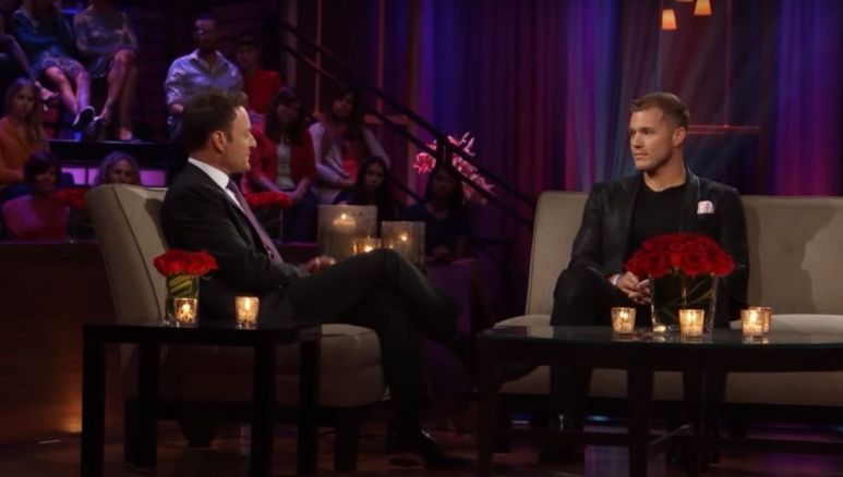 Colton Underwood talking to Chris Harrison during The Men Tell All
