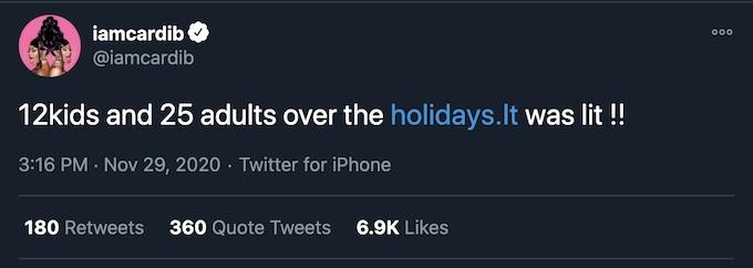 cardi b thanksgiving tweet