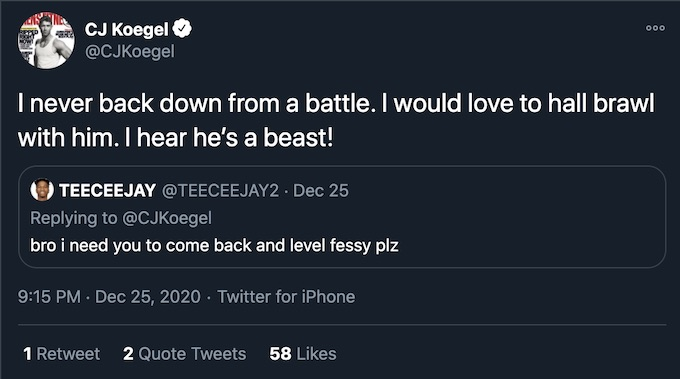 cj koegel hall brawl tweet involving fessy