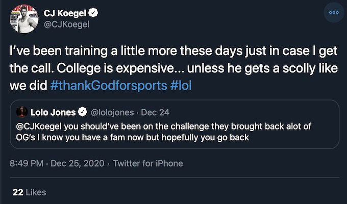 cj koegel retweets lolo jones the challenge double agents