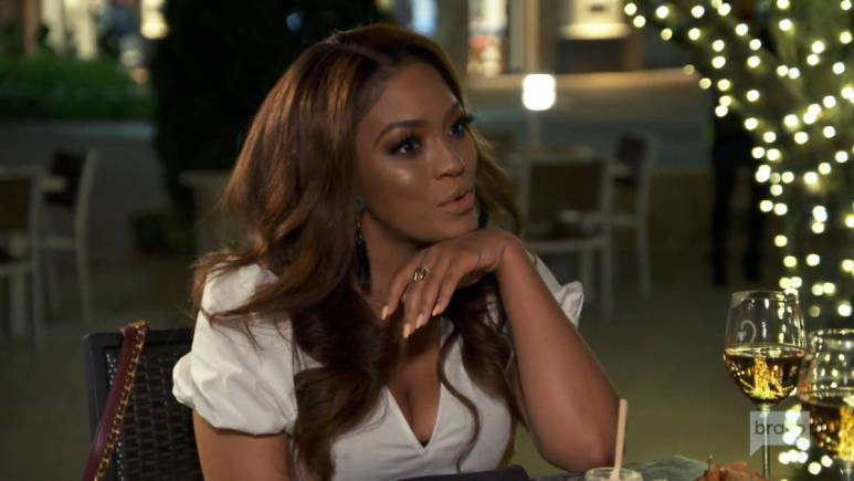 Drew Sidora has dinner with Cynthia Bailey while filming for RHOA.