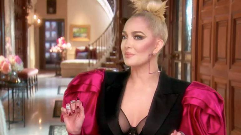 Erika Jayne films a confessional interview for RHOBH.