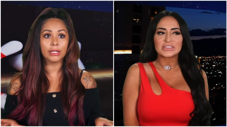 Nicole Polizzi and Angelina Pivarnick during an episode of Jersey Shore Family Vacation