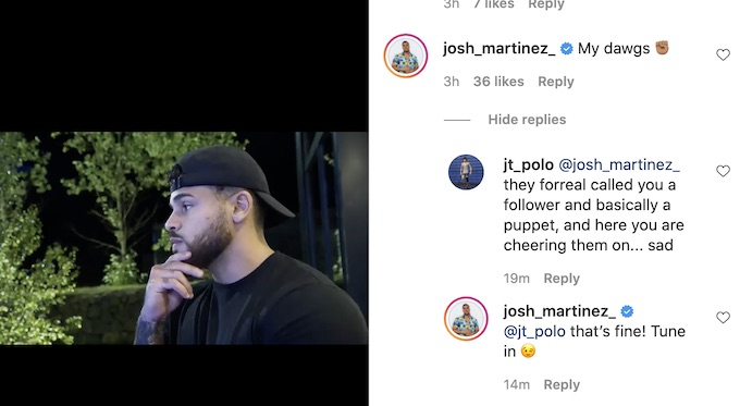 the challenge double agents josh martinez comments to fan