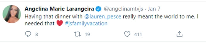 Angelina Pivarnick says her dinner with Lauren Sorrentino meant the world to her in a Twitter post